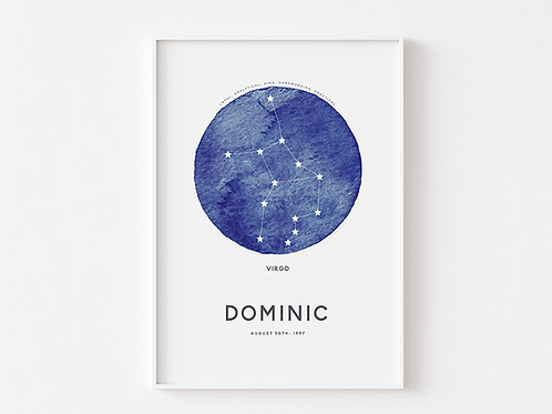 Zodiac Night Sky | Personalised Print