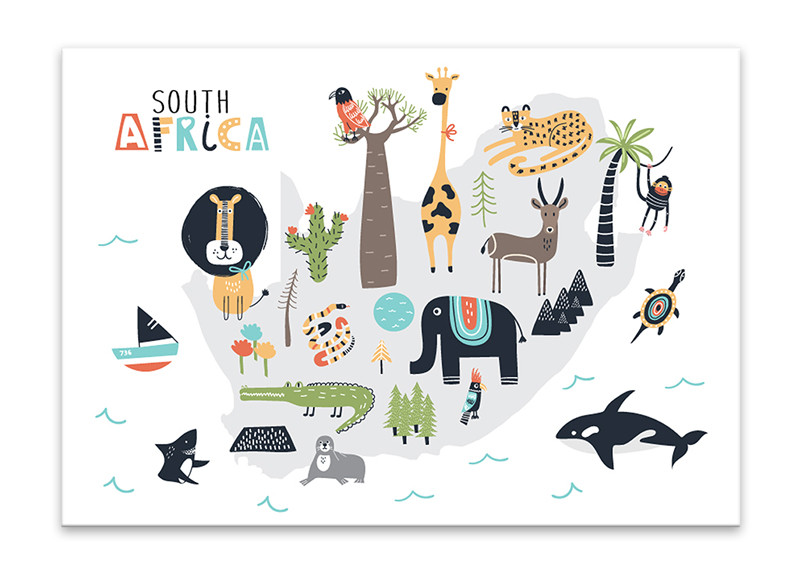 Children's animal map of South Africa