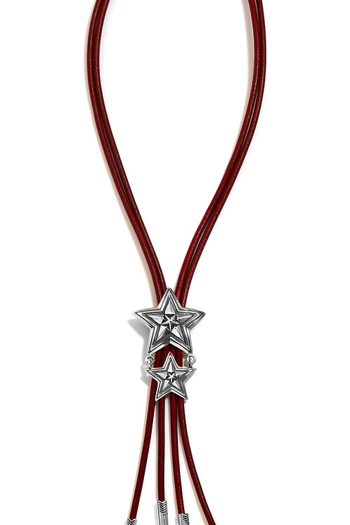 Double Strand Red Star in Star Bolo Tie