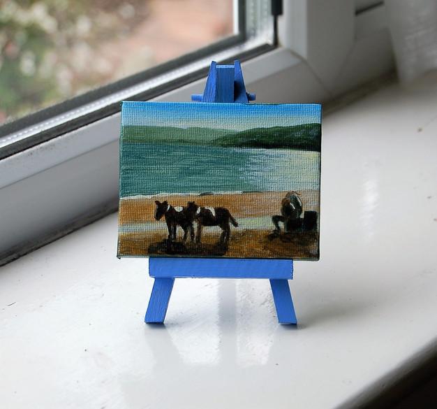 """NOW £15  MINI """"Donkeys on Scarborough beach"""""""