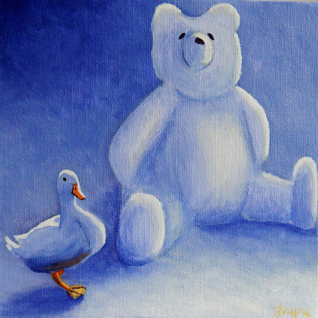 "GREETINGS CARD ""All my own work said white duck"""