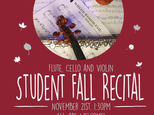 Join us this Saturday for the BMA Fall Student Recital at 1:30pm!