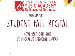 FALL STUDENT RECITAL,  Sunday Nov. 13th