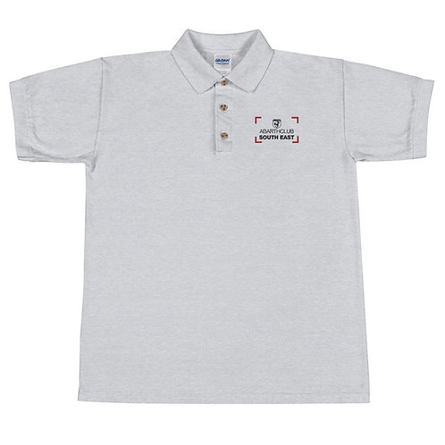 Black Text Scorpionship Embroidered Polo Shirt