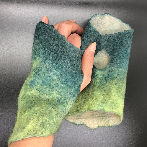 Felted Wristwarmer, Green and Teal