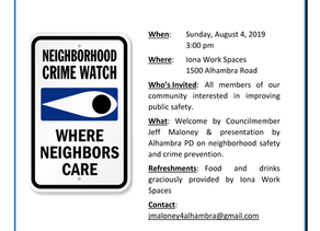 Iona Work Spaces to Host Neighborhood Watch Meeting!