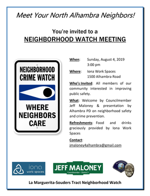 Iona Work Spaces to Host Neighborhood Watch Meeting!