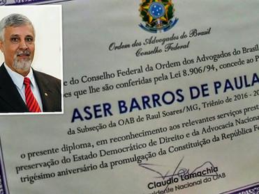 Dr. Áser Barros de Paula recebe homenagem do Conselho Federal da OAB