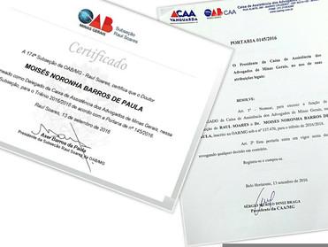Dr. Moisés Noronha é nomeado Delegado da Caixa de Assistência dos Advogados de Minas Gerais (CAA/MG)