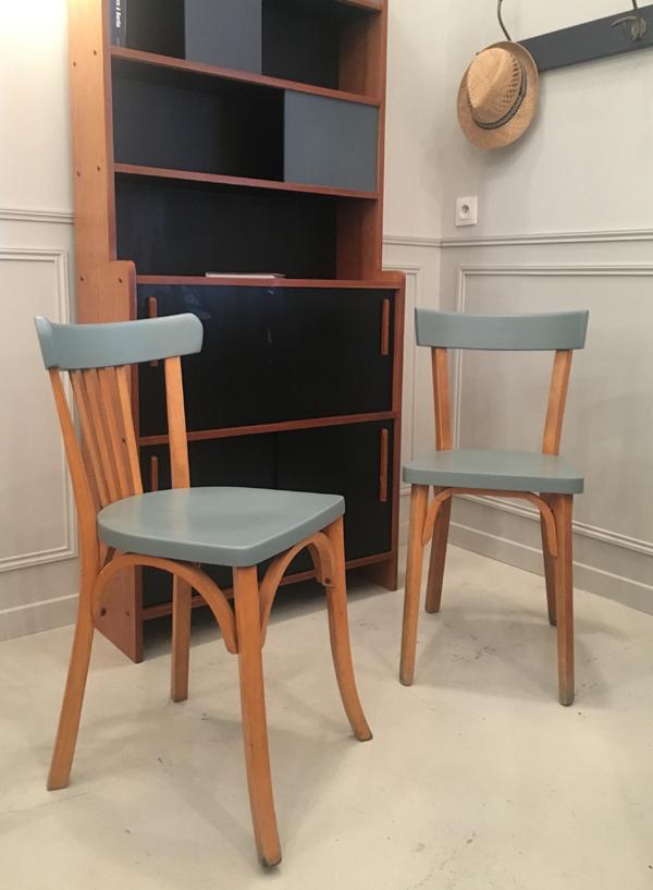 paire chaises bistrot bleu ciel