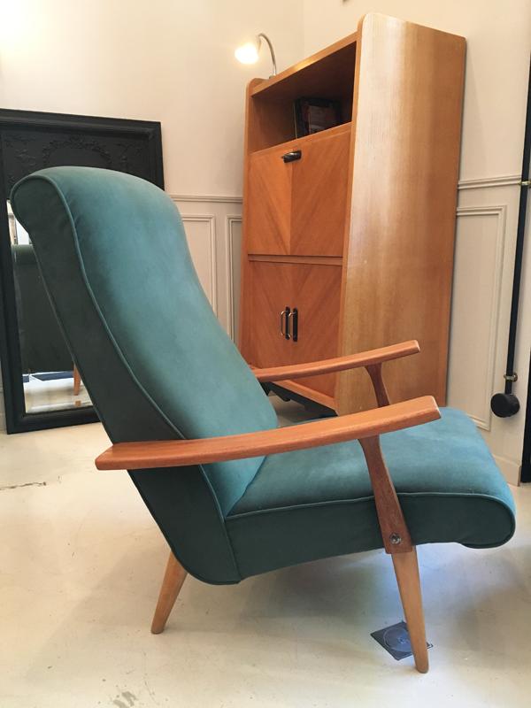 fauteuil velours années 50
