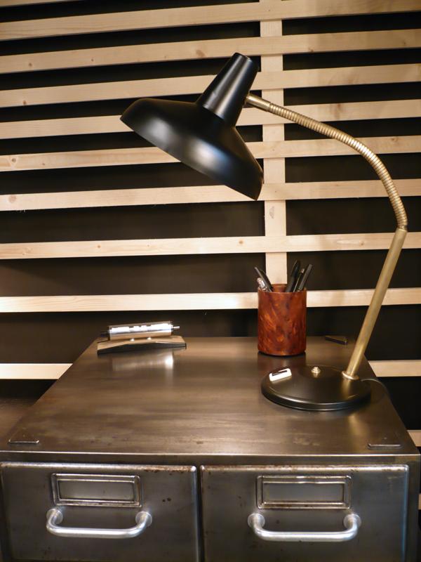 Lampe cocotte noir et laiton