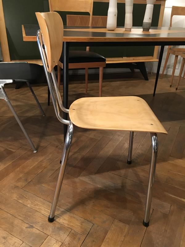 Chaise fifties bois et chrome