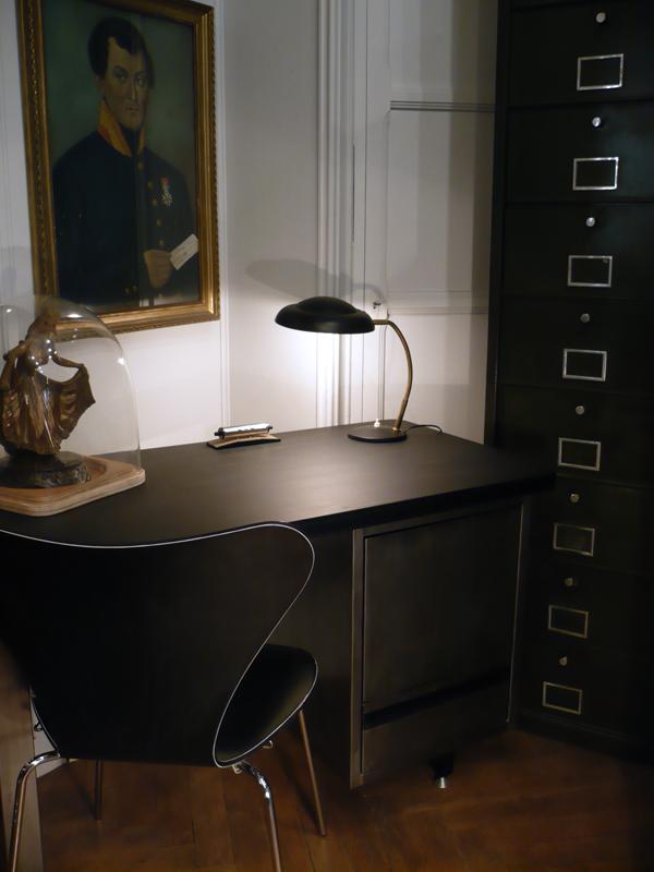 Lampe de bureau noir et laiton