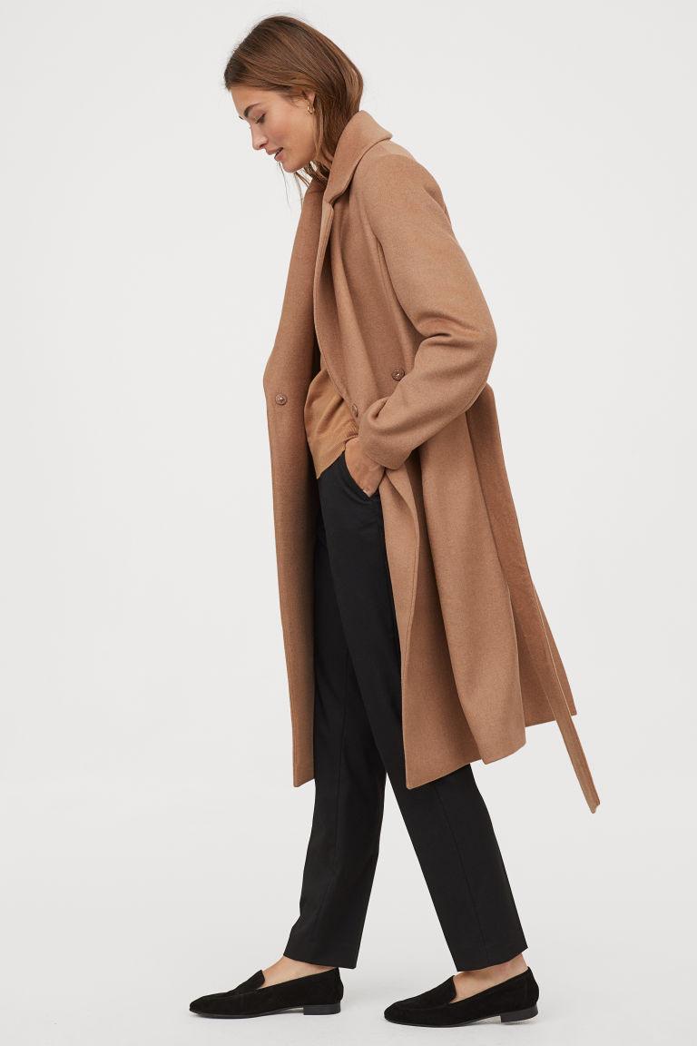 manteau en laine mélangée beige