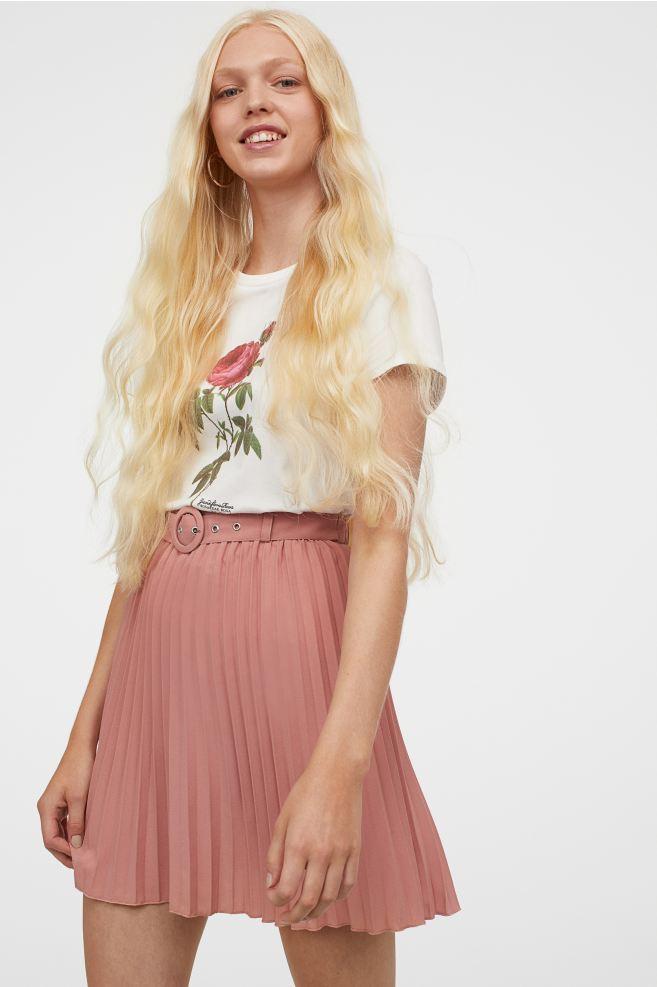 Jupe plissé vieux rose H&M