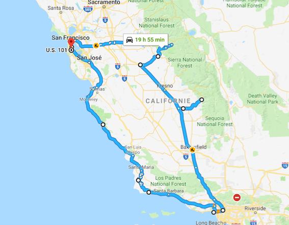 Image sur google map de mon trajet en californie