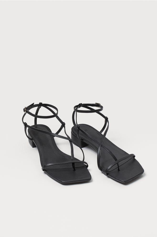 sandale à bride à bout carré noir H&M