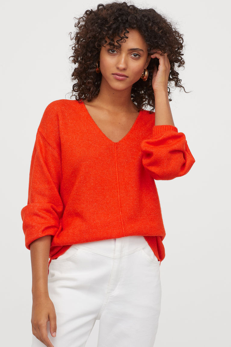 Pull rouge vif H&M