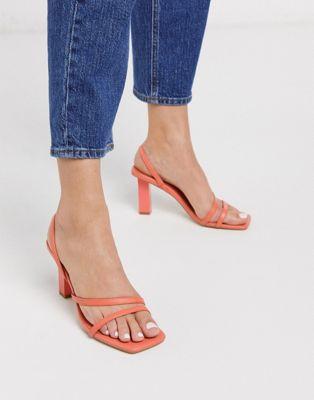 Sandale à bout carré corail ASOS