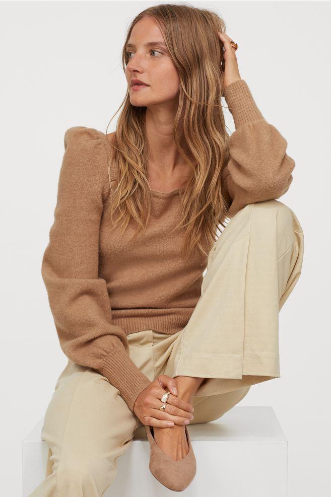 Pull à manches bouffantes beige H&M