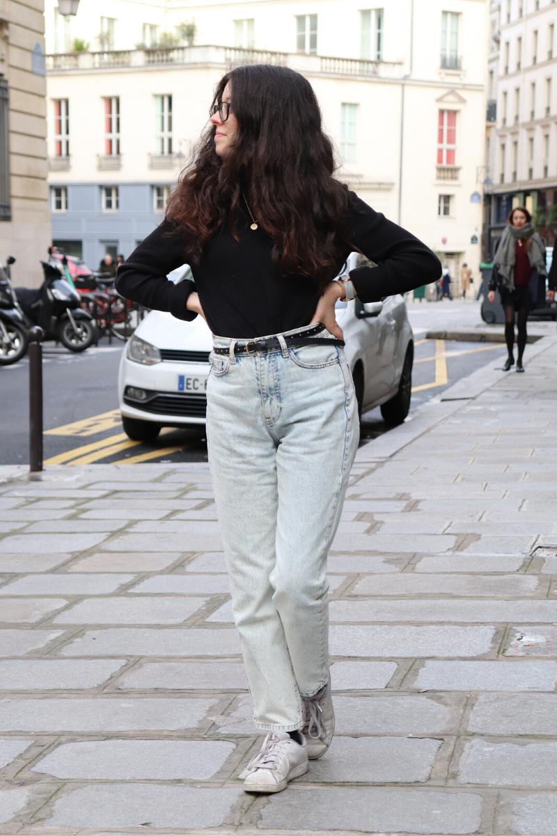 Pull noir jeans droit zara claire