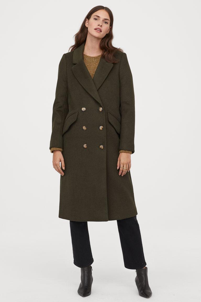 manteau de longueur genou vert mousse