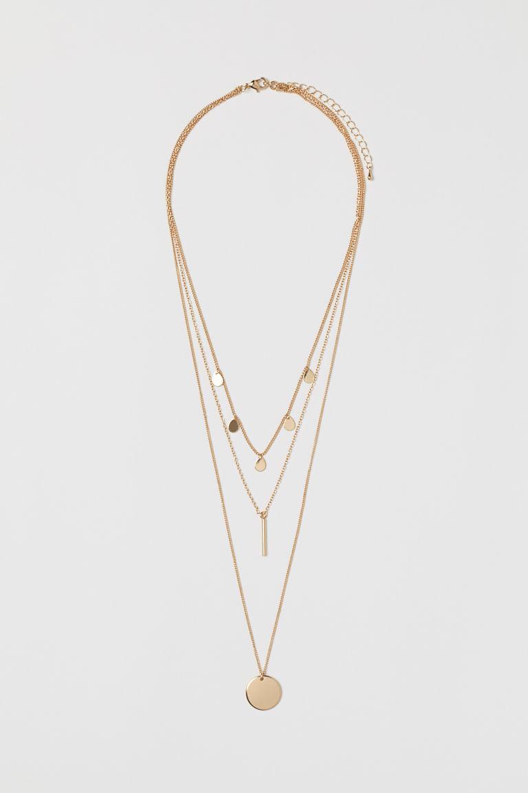 collier à trois rangs doré