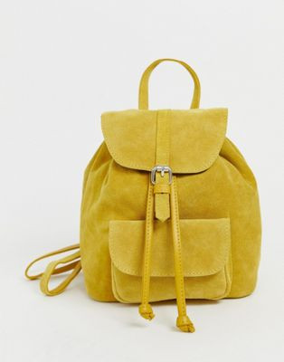 mini sac à dos jaune en daim