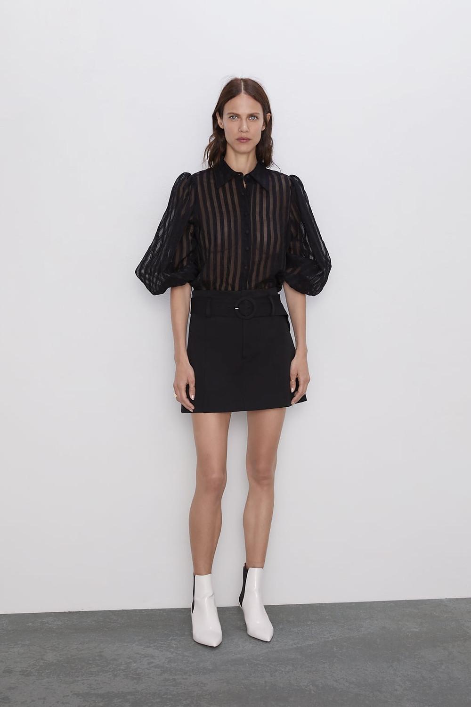 Blouse transparente noir Zara