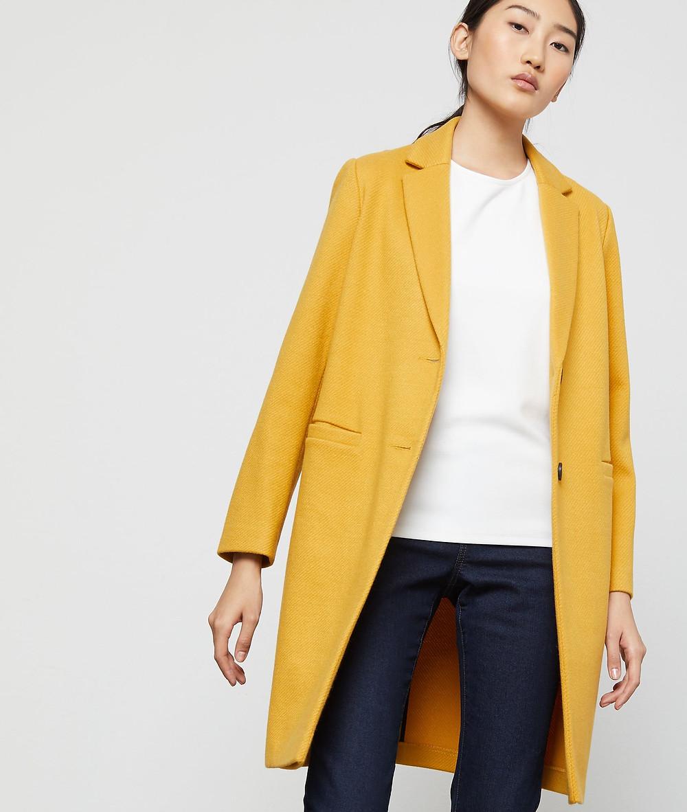 veste manteau jaune etam