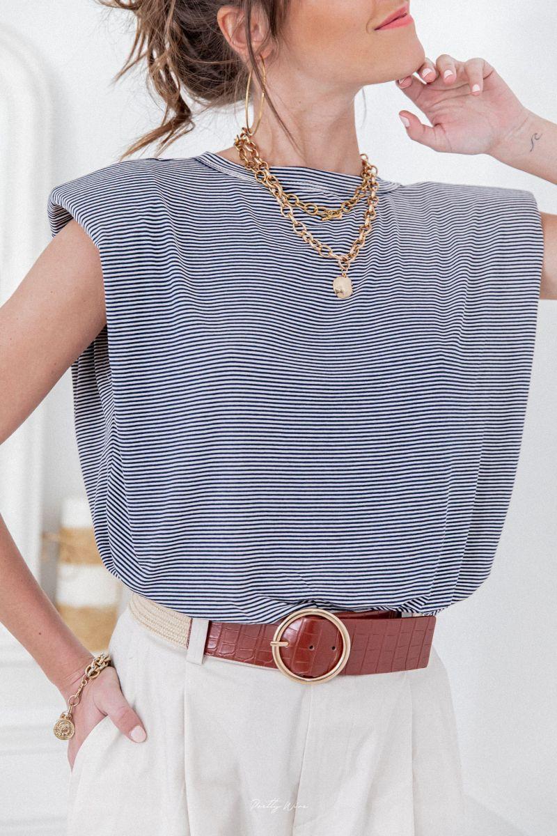 T-shirt à épaulette bleu marinière pretty wire