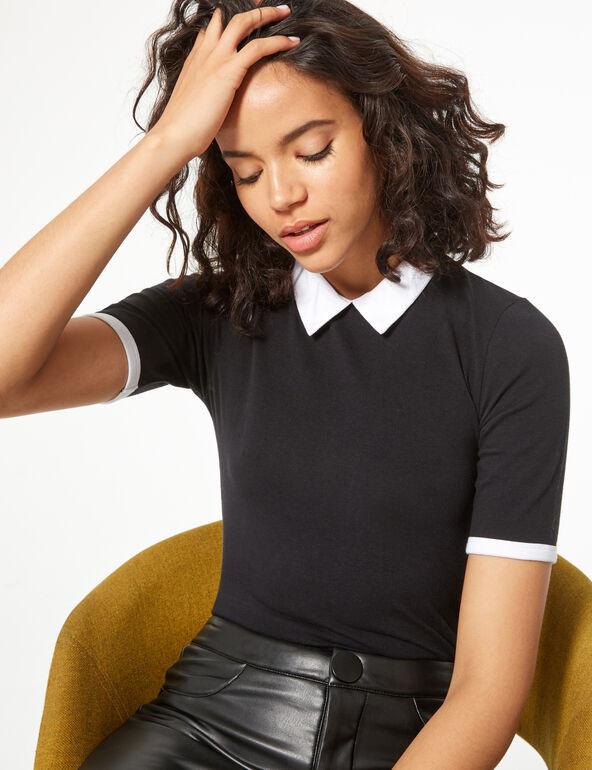 T-shirt à col noir jennyfer