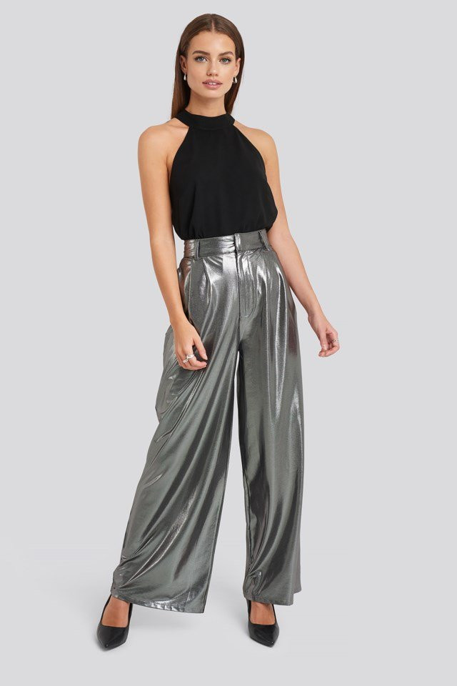 high waist front pleat wide pleat wide leg pants argent NA-KD