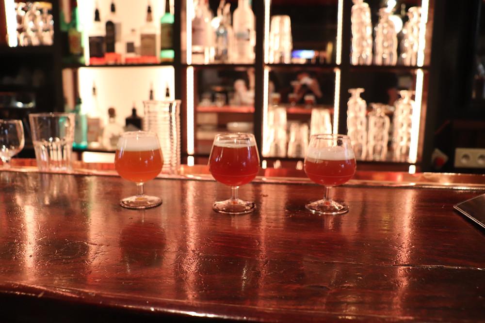 3 petits verres de bières brassé au O'Neil