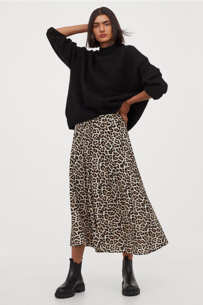 Jupe longue léopard H&M
