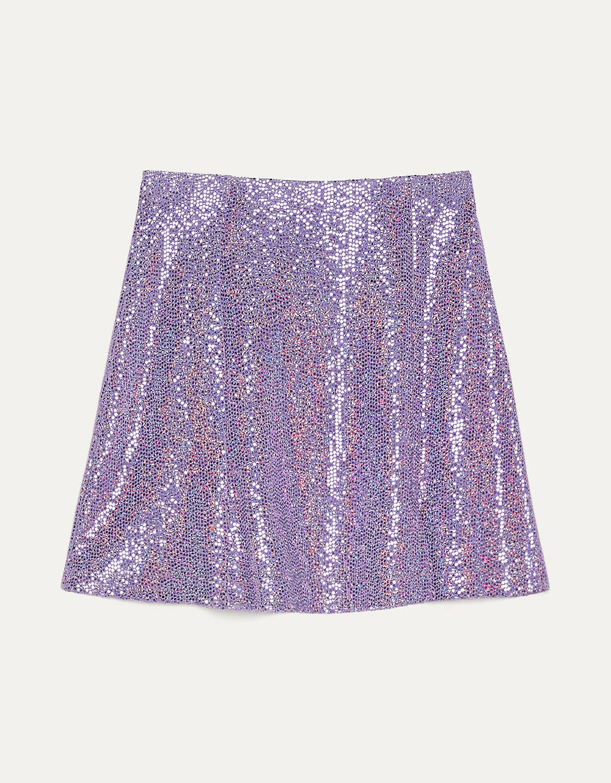 jupe à sequin violet bershka