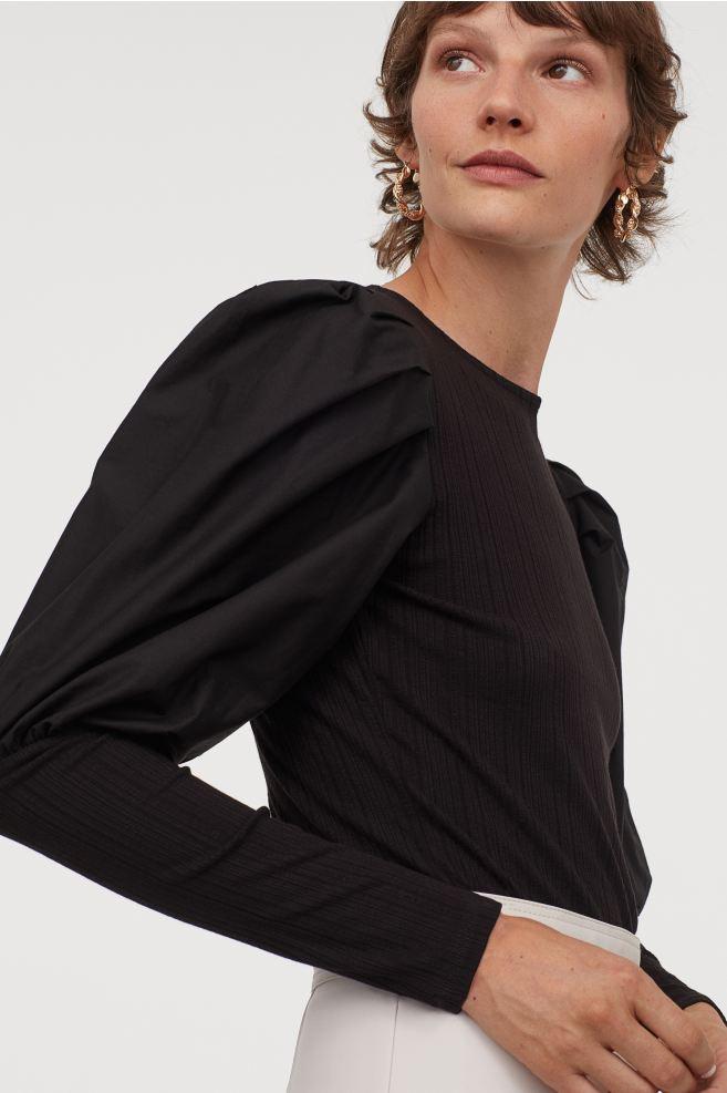 Top à manches bouffantes noir H&M