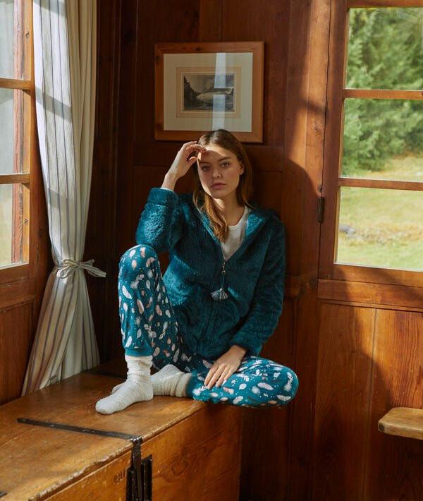 pyjama 3 pièces bleu etam