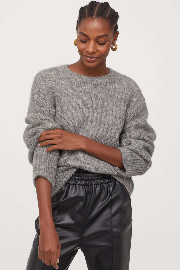 pull en laine mélangé gris