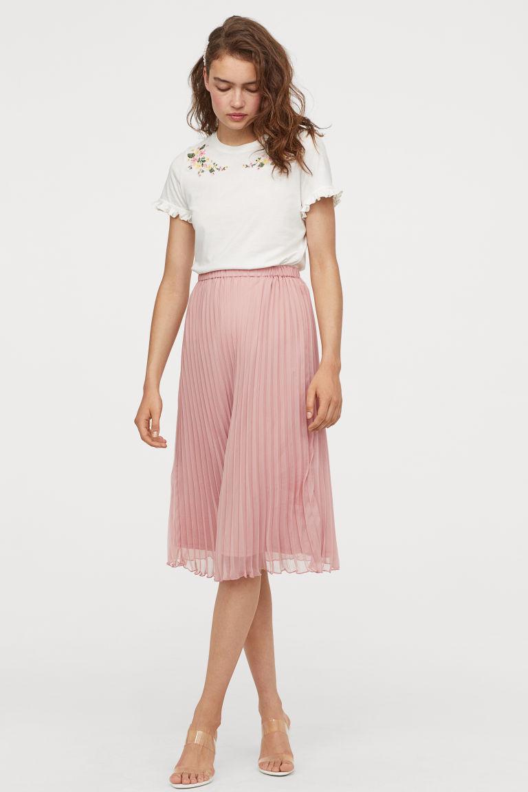 Jupe midi skirt rose poudré H&M