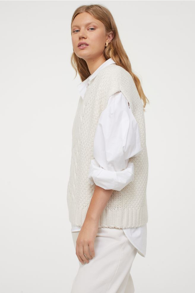 Pull sans manches blanc H&M