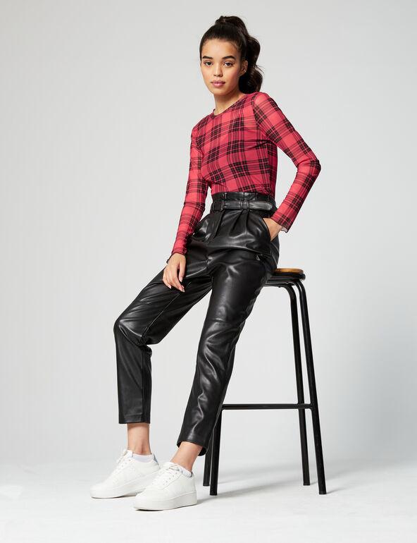Pantalon en simili cuir avec ceinture Jennyfer