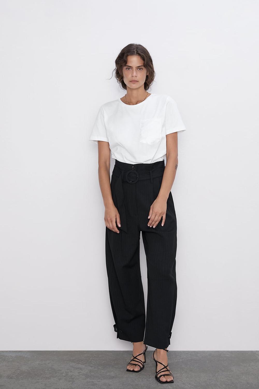 T-shirt blanc à poche Zara