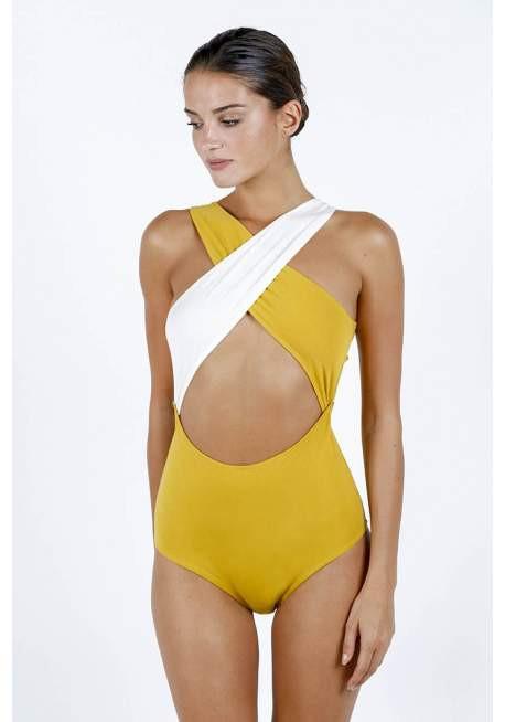 Photo du maillot Chloé en jaune et blanc de chez luz