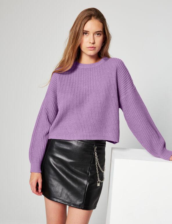Pull loose en maille violet Jennyfer