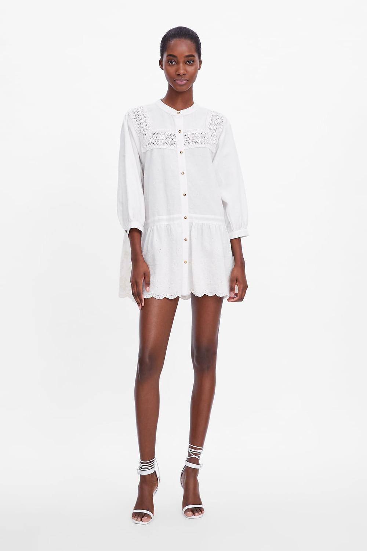 robe en broderie blanche Zara