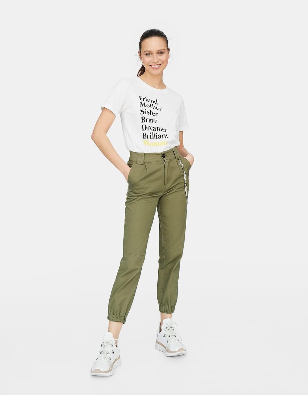 pantalon cargo kaki stradivarius
