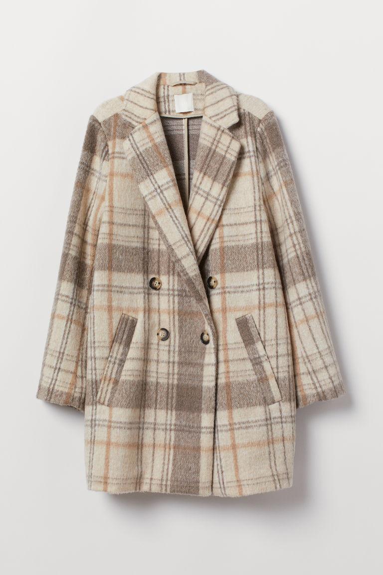 manteau à double boutonnage beige