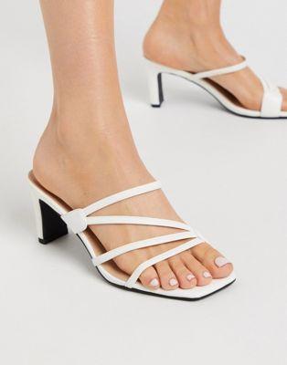 Sandale à bride à bout carré blanc ASOS